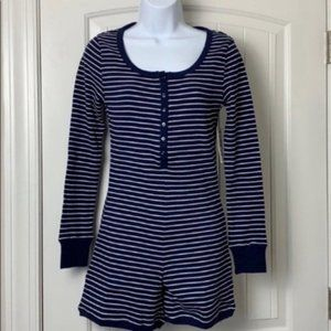 NEW Plush thermal navy pajama romper